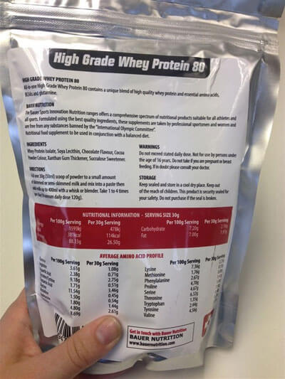 Body Fuel High Grade Whey Protein 80 Ingredients