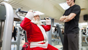 santa working out in the gym